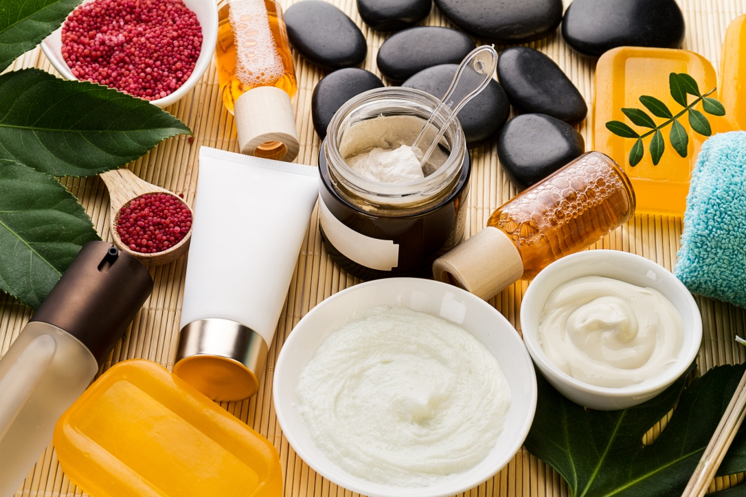 Spa Beauty Care Concept. Beautiful Various Products Spa Set for